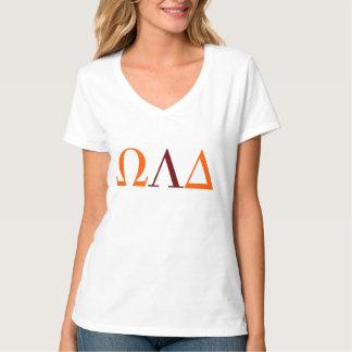 オメガLambdaのデルタの女性のV首のTシャツ Tシャツ
