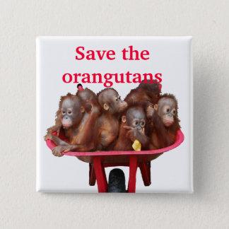 オランウータンのかわいいベビーを救って下さい 缶バッジ