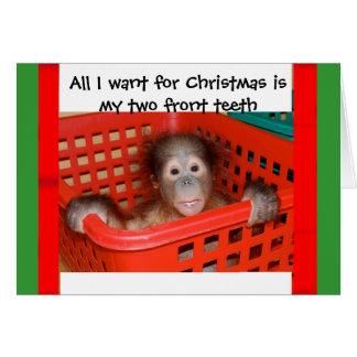 オランウータンのベビーのクリスマスキャロル カード