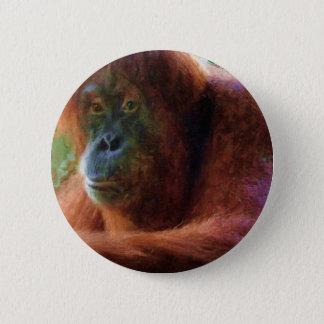 オランウータンの霊長目のポートレートの野性生物の芸術のギフト 5.7CM 丸型バッジ