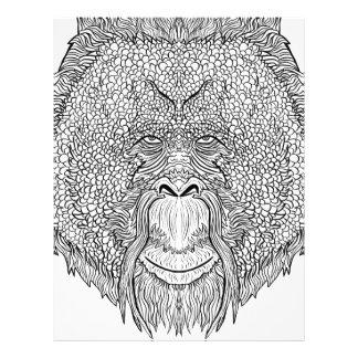 オランウータン猿のティー-入れ墨の芸術のスタイルの着色 レターヘッド