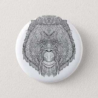 オランウータン猿のティー-入れ墨の芸術のスタイルの着色 缶バッジ