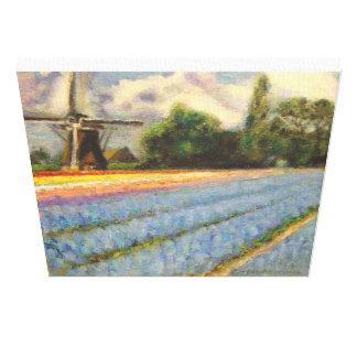 オランダによっては3の風景画のトリプティク2が開花します キャンバスプリント