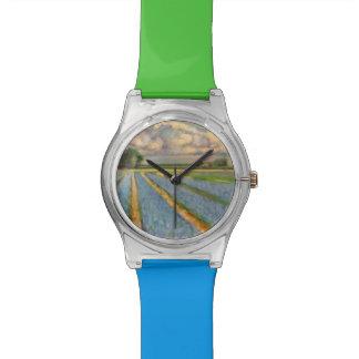 オランダによっては3の風景画のトリプティク3が開花します 腕時計
