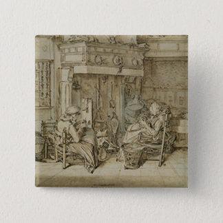 オランダのインテリア1617年 5.1CM 正方形バッジ