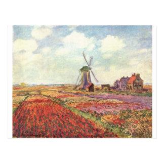 オランダのクロード・モネのチューリップ ポストカード