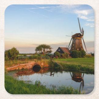 オランダのコースターの田舎の風車 スクエアペーパーコースター