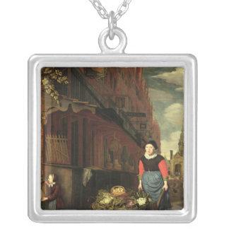 オランダのジャンル場面1668年 シルバープレートネックレス