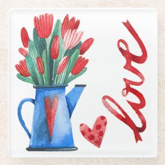 オランダのチューリップの花の赤いハート愛ガラスのコースター ガラスコースター