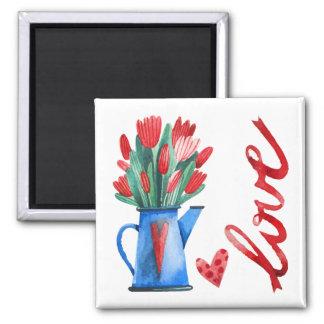 オランダのチューリップの花の赤いハート愛磁石 マグネット