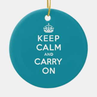 オランダのティール(緑がかった色)のKeep Calm and Carry On セラミックオーナメント