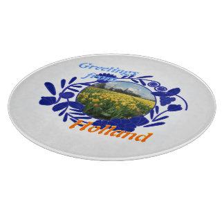 オランダのヴィンテージのデルフトの青パターンからの挨拶 カッティングボード