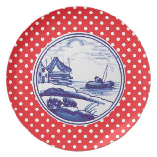 オランダの伝統的で青いタイル プレート