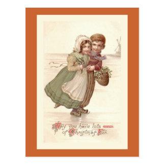 """""""オランダの子供スケートで滑る""""のクリスマスの郵便はがき ポストカード"""