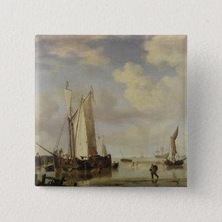 オランダの容器浸っている沿岸におよび人1661年 5.1CM 正方形バッジ