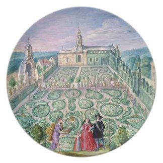 オランダの庭1650年(w/c紙で) プレート
