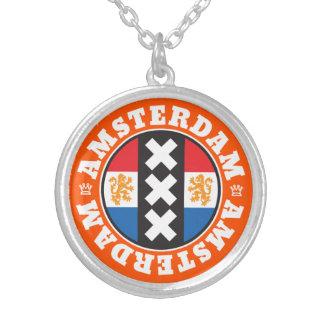 オランダの旗とのアムステルダムXXX都市記号 シルバープレートネックレス