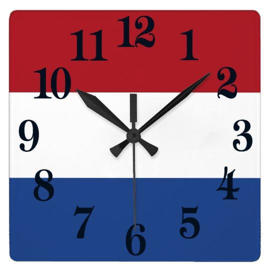 オランダの旗 スクエア壁時計