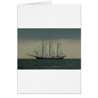 オランダの海岸の沖のスクーナー船 カード