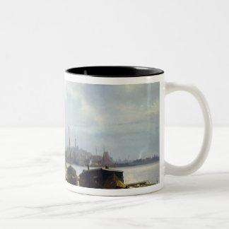 オランダの海岸の眺め ツートーンマグカップ