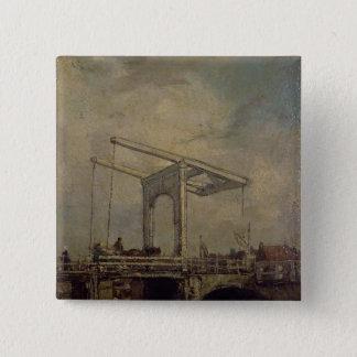 オランダの町1875年の可動橋 缶バッジ