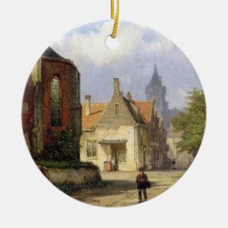オランダの町(oの赤レンガの教会の前に計算して下さい セラミックオーナメント