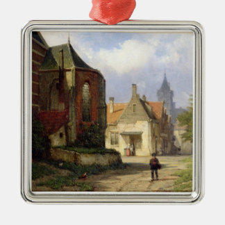 オランダの町(oの赤レンガの教会の前に計算して下さい メタルオーナメント