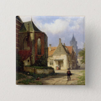 オランダの町(oの赤レンガの教会の前に計算して下さい 5.1cm 正方形バッジ