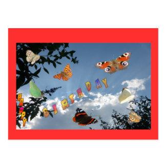 オランダの蝶赤いハッピーバースデーの郵便はがき ポストカード