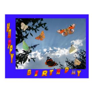 オランダの蝶青いフレームの誕生日の郵便はがき 葉書き