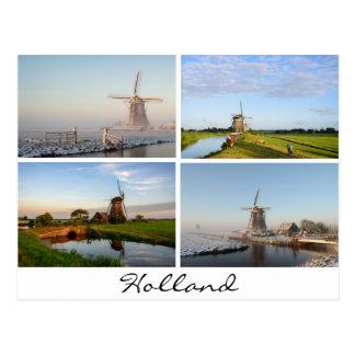 オランダの郵便はがきの風車との景色 ポストカード