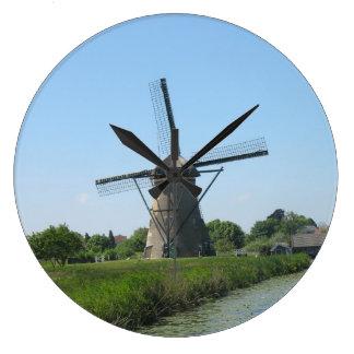 オランダの風車の時計 ラージ壁時計