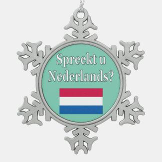 オランダを話しますか。 オランダ。 旗 スノーフレークピューターオーナメント