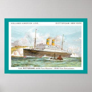 オランダアメリカラインの1908年のロッテルダム ポスター