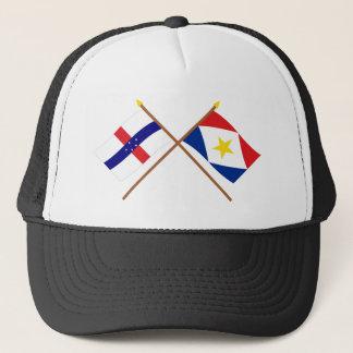 オランダアンティル諸島およびSabaによって交差させる旗 キャップ