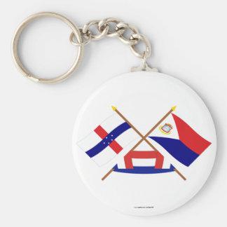 オランダアンティル諸島及びSintのMaartenによって交差させる旗 キーホルダー