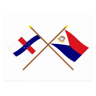 オランダアンティル諸島及びSintのMaartenによって交差させる旗 ポストカード
