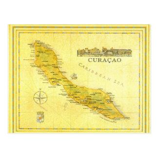 オランダアンティル諸島、クラサオ島は地図を描きます(紙) ポストカード