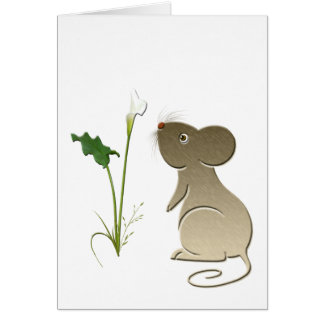 オランダカイウユリおよびかわいいマウス カード