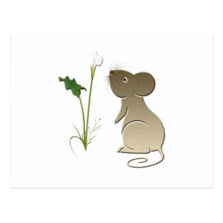 オランダカイウユリおよびかわいいマウス ポストカード
