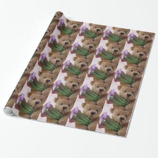 オランダカイウユリの包装紙を持つテディー・ベア ラッピングペーパー