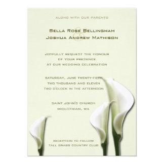 オランダカイウユリの白の結婚式招待状 カード