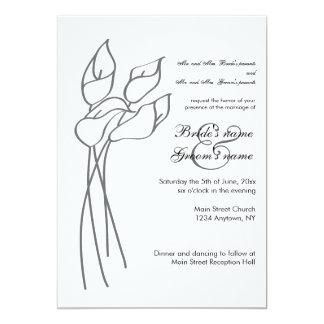 オランダカイウユリの結婚式の招待 カード