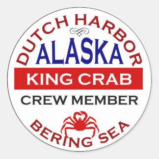 オランダ港のアラスカのタラバガニ乗組員 ラウンドシール