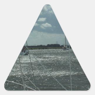 オランダ運河のヨット 三角形シール