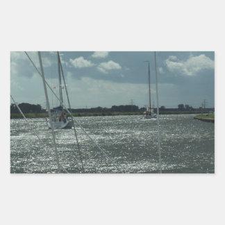 オランダ運河のヨット 長方形シール