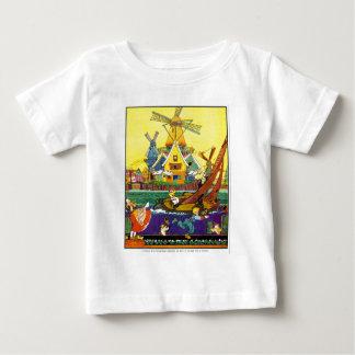 オランダ運河の風車のワイシャツ ベビーTシャツ