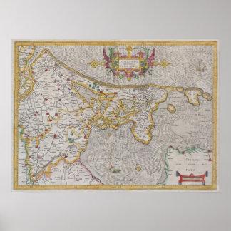 オランダ1606年の地図- Gerardメルカトル著… ポスター