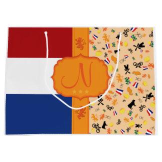 オランダ-モノグラムのための愛 ラージペーパーバッグ