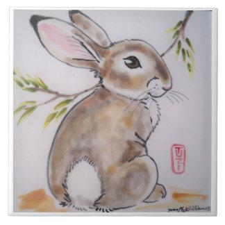 オリエンタルか日本語はバニーウサギのタイルかtrivetを設計します タイル